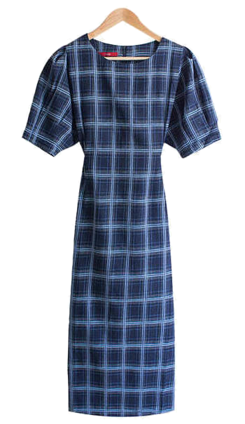Gabiel Check Puff Sleeve Long Dress