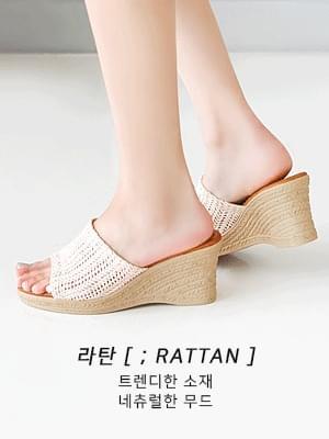 韓國空運 - Pirans Wedge Heel Mule Slippers 7cm 涼鞋