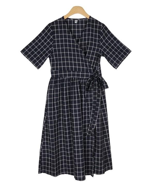 Linen check lap Long dress