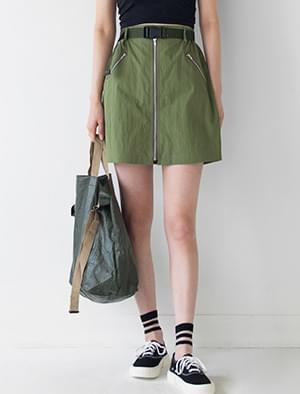 A-line Zipper Detail Mini Skirt