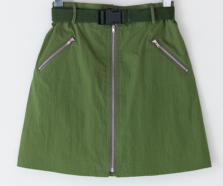 A-line zipper detail banding mini skirt
