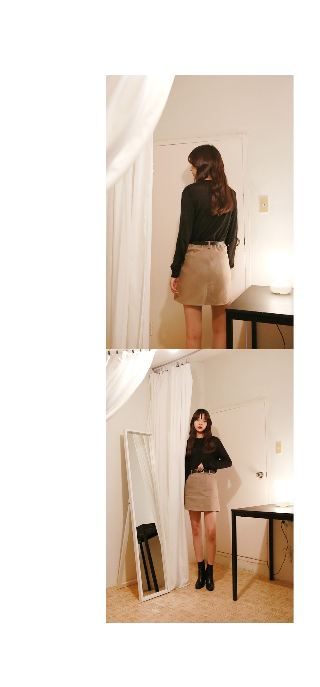 Mini belt banding skirt