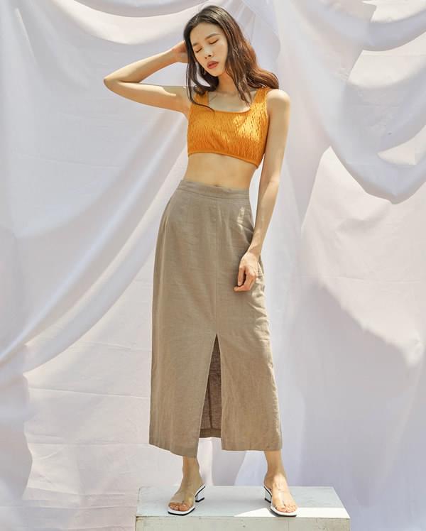 deep slit linen skirt (s, m)