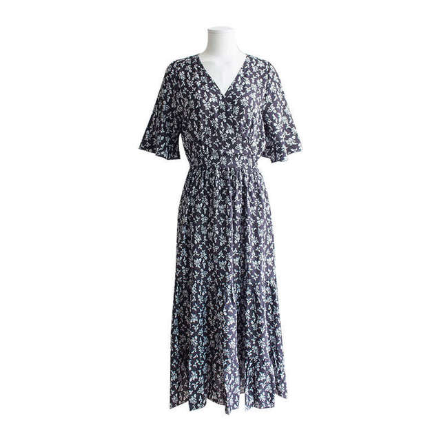 Flower Chiffon V-neck Long Dress