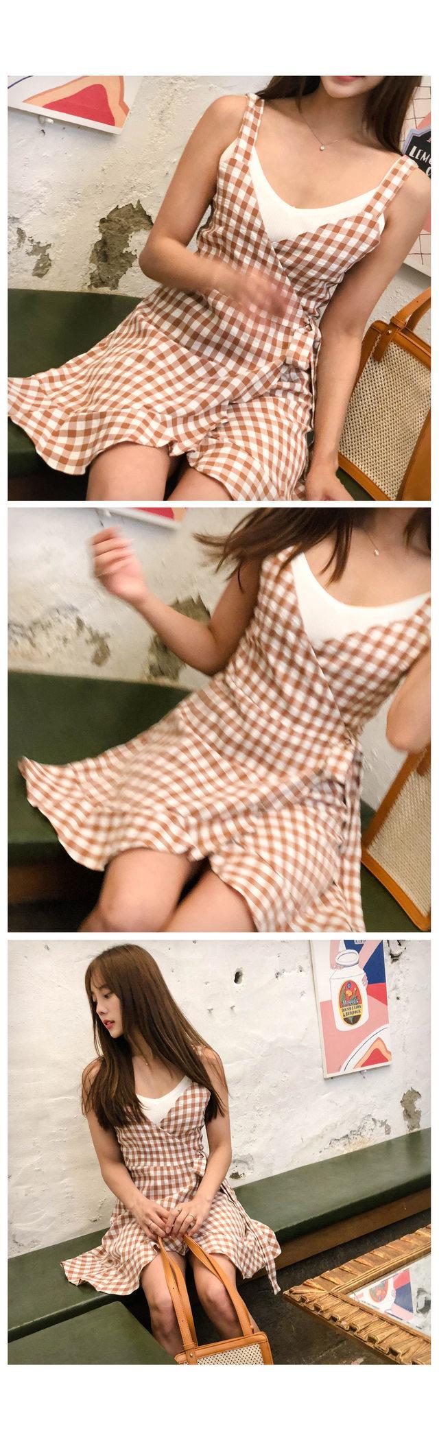 Check Unlike frilly wrap dress