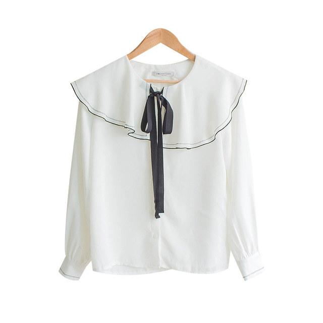 Ruffle color ribbon blouse