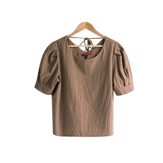 Cookie Puff Sleeve Ribbon Linen Blouse