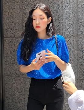 Blue dot puff blouse_S (size : free)