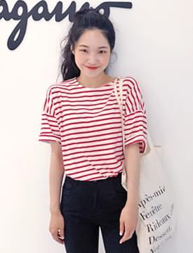 All-day stripe cotton T_H (size : free)