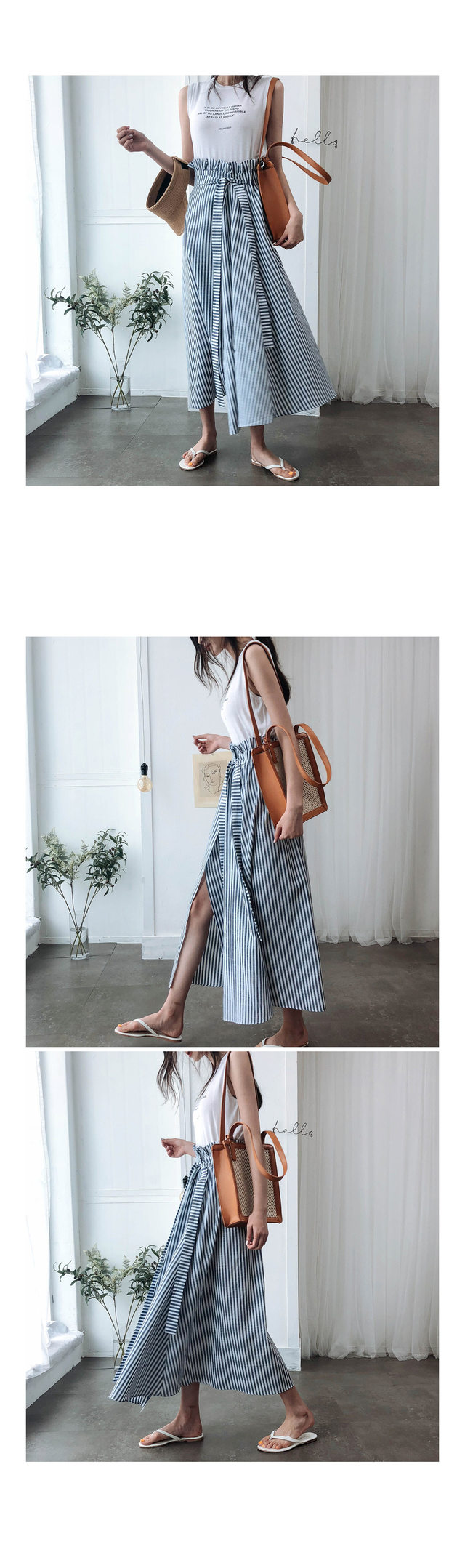Striped and long skirt