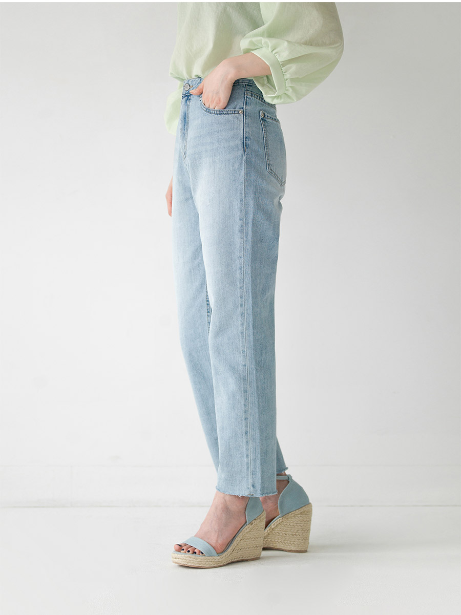 light blue straight fit denim pants