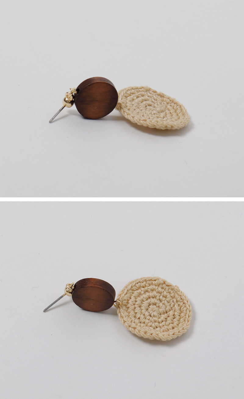 Nature knit drop earring_B (size : one)