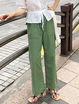 Work cotton banding pants_S (size : S,M)