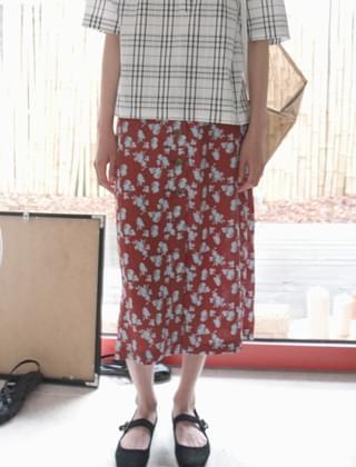 contrast floral skirt (2colors)