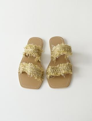 straw fringe slippers (3colors)