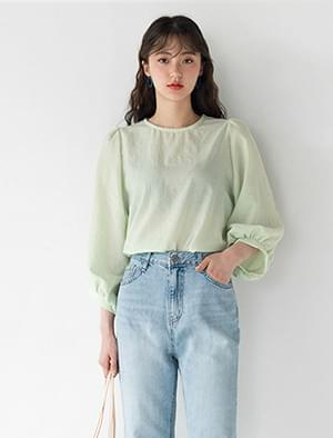shirring detail puff sleeve blouse