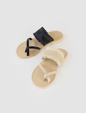fringe strap ethnic flip-flop