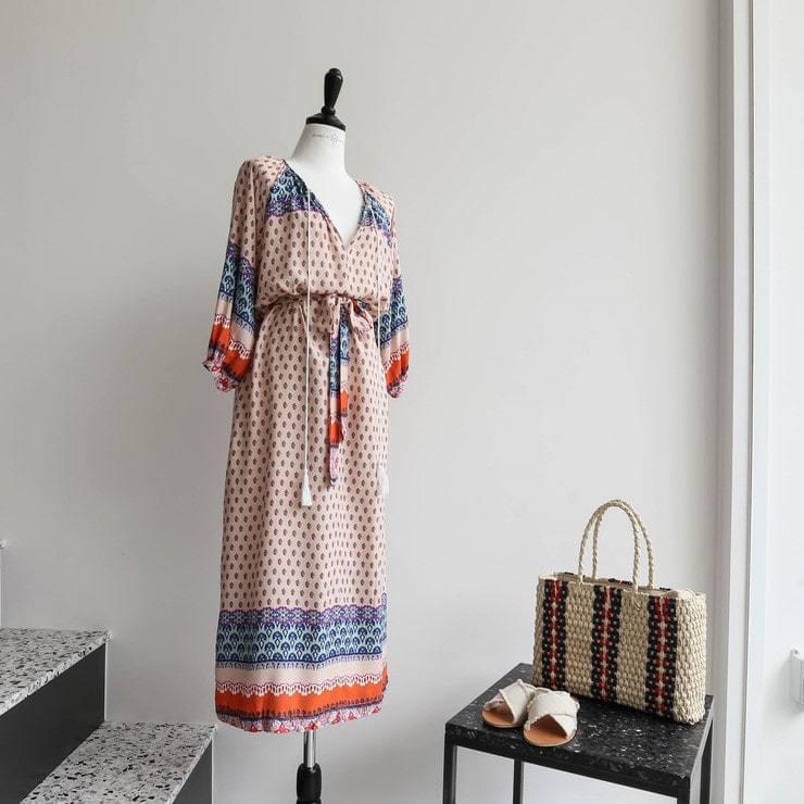 Rayon ethnic pattern loose long dress _opsw02486