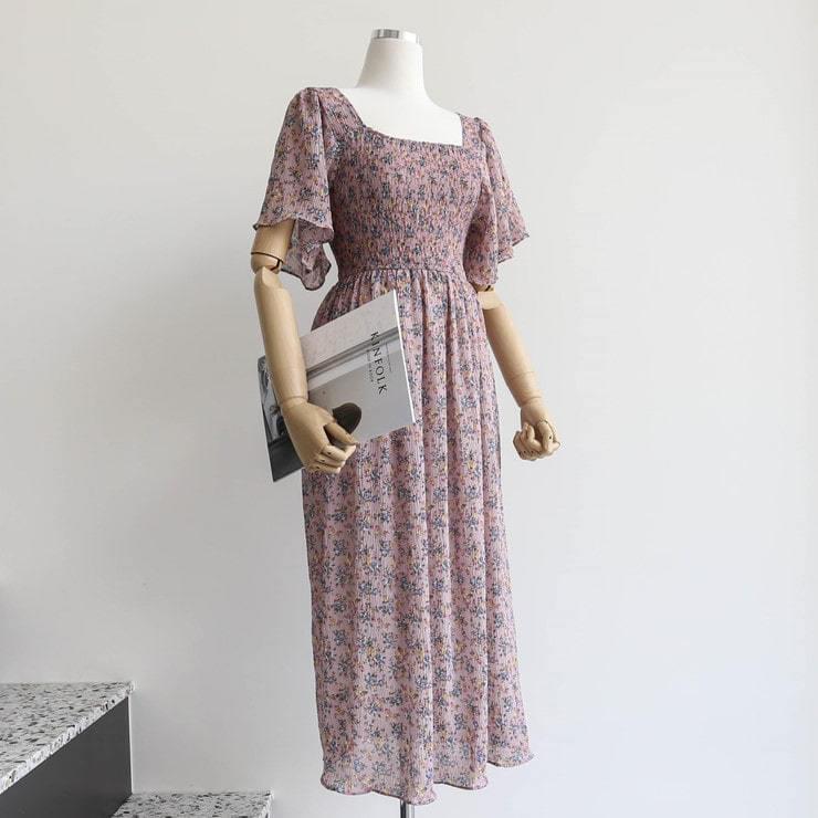 Flower smoking long dress _opsw02500