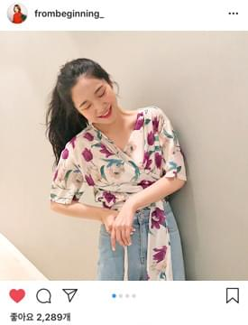 Bloom wrap ribbon blouse_K (size : free)