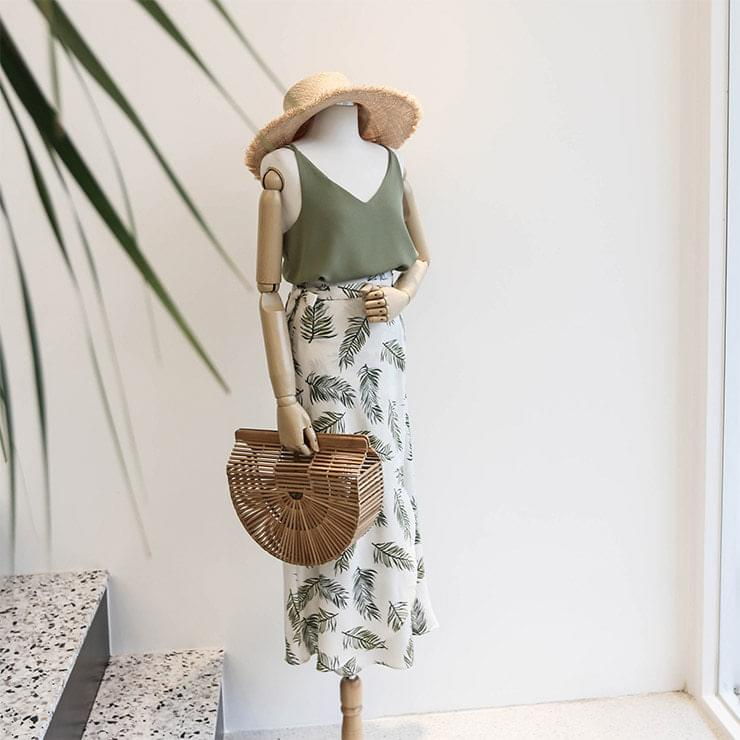 Leaf Leaf Sleeveless Wrap Skirt Coord Set Two Piece _swst02543