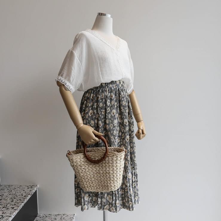 Floral Pleated Midi-Bending Skirt _sksw02536