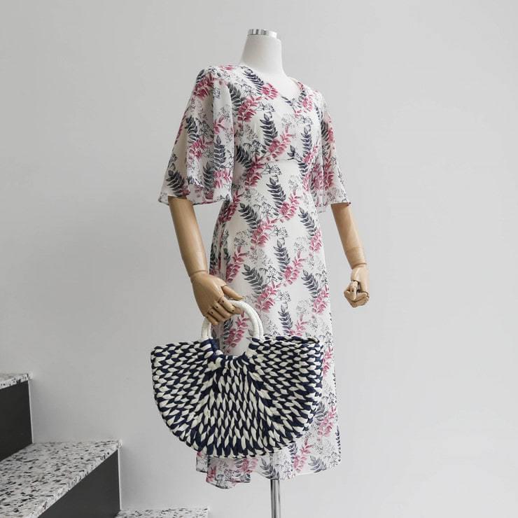 Flower chiffon trumpet sleeve dress _opsw02532