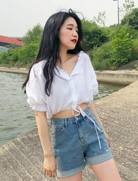 Mood crop frill blouse_M (size : free)