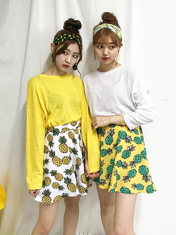 Pineapple flared skirt