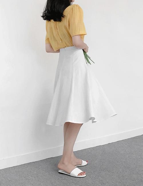 Linen cut flared skirt