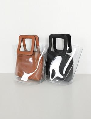 方形提把透明PVC手提包(附收納包)