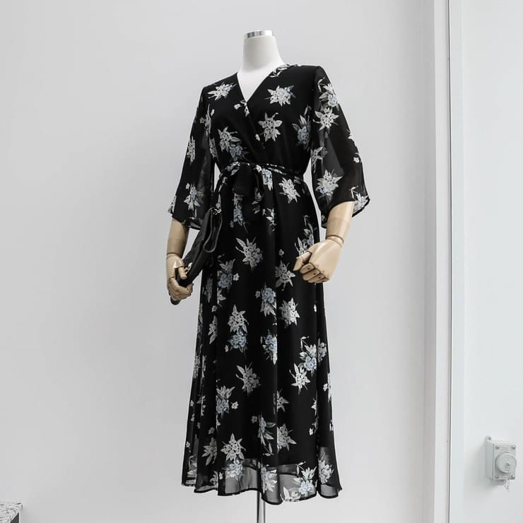 Flower Chiffon Long Dress _opsw02530