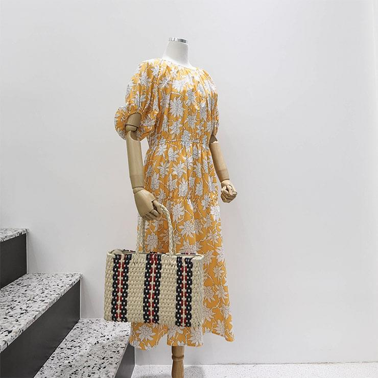 Yellow Flower Pattern Puff Shirring Long Dress _swop02520