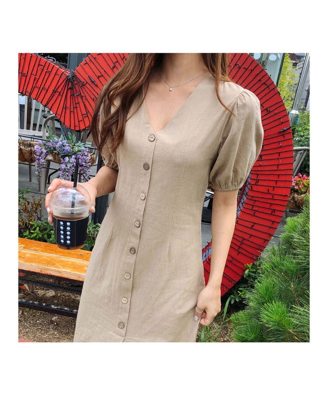 Button ruby ​​linen dress
