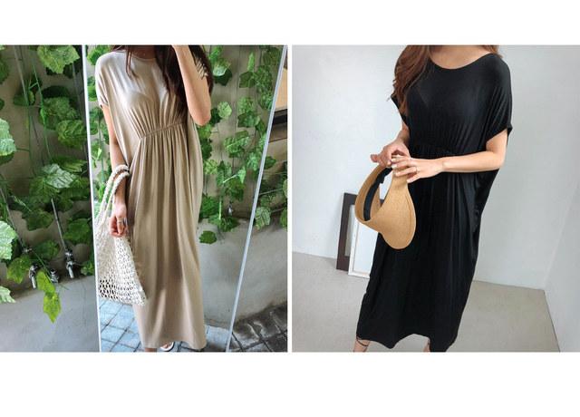 Modal verical shirring dress