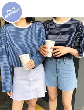 Linen 100% stripe T_B (여가티) (size : free)