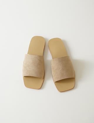 韓國空運 - square toe suede slippers (2colors) 涼鞋