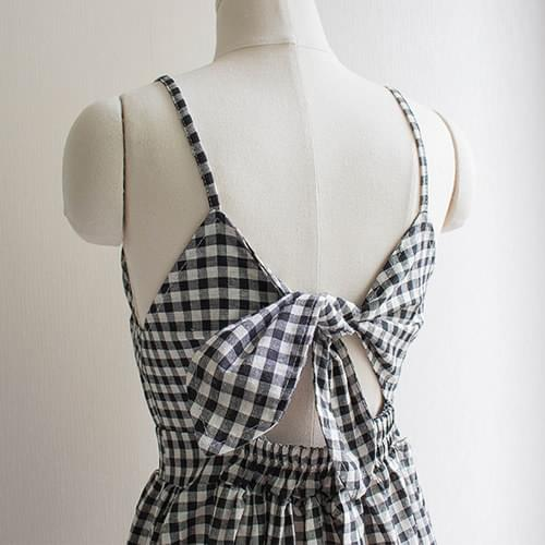 Laurent Sleeveless Ribbon Check Dress