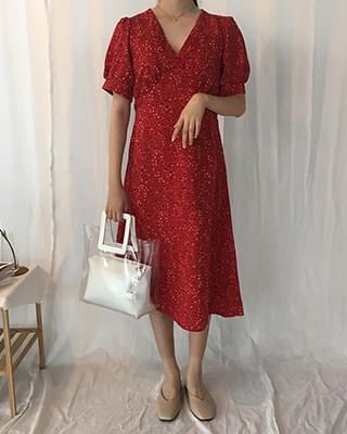 V-neck Chiffon Short Sleeve Red Long Dress