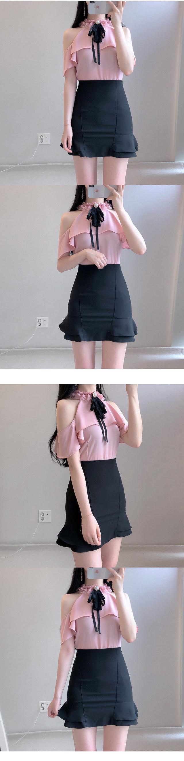 Brooch set blush off shoulder ♥ blouse