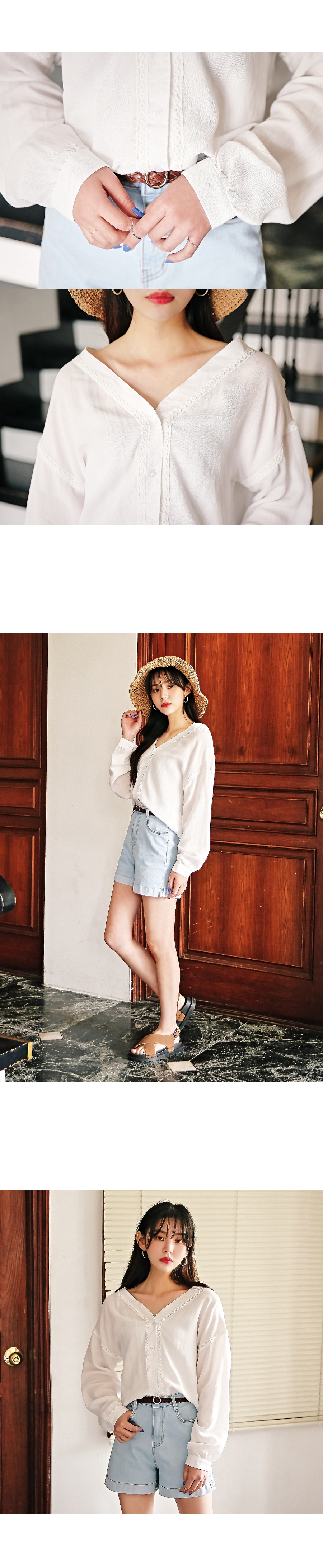 Sheep-V-eyelet blouse