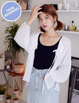 Made_top-136_shirring blouse cardigan_H (size : free)