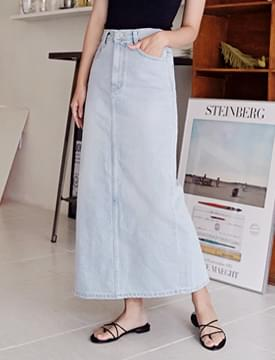 Smoothie long denim skirt_H (size : S,M)