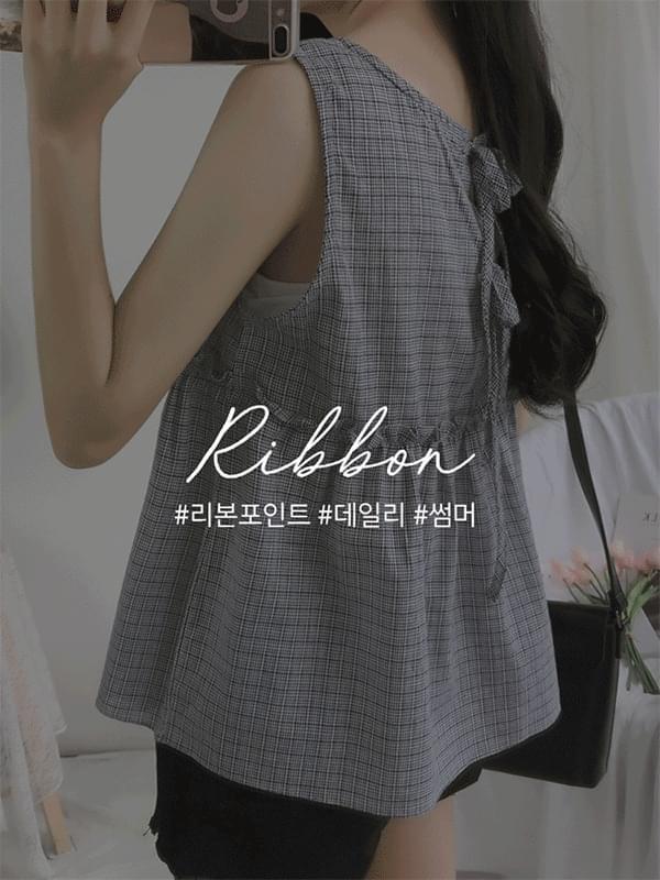 Checked back ribbon Nashi blouse