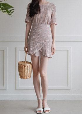Check-wrap one-piece look