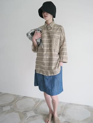 twill short denim skirt (2colors)