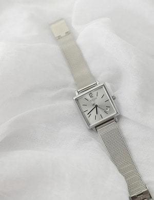Square metal silver watch