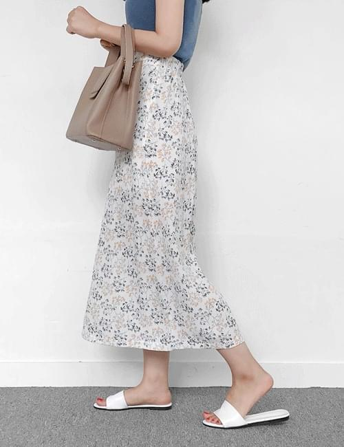 Watercolor slit long skirt