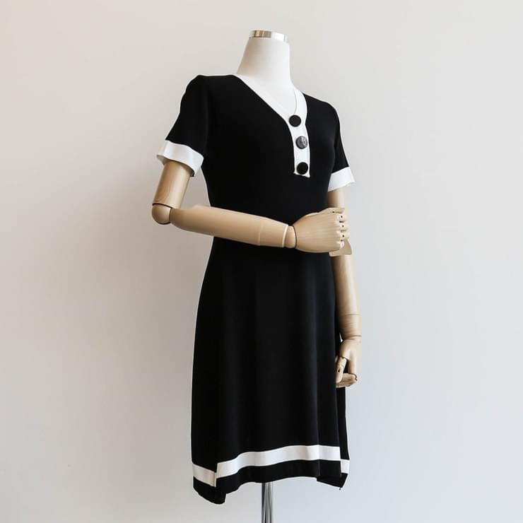 Colored mini-knit dress _opsw02552