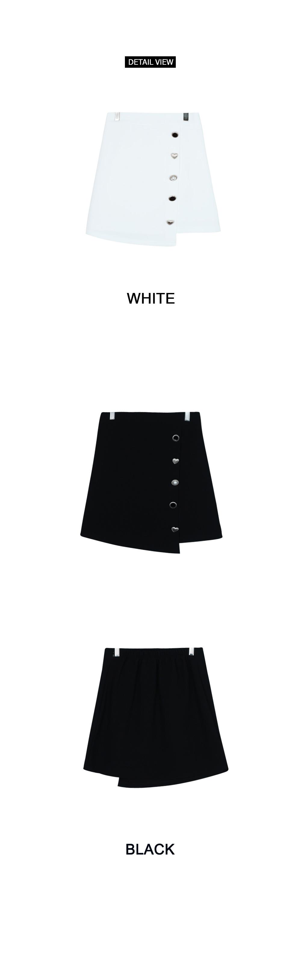 Silver Heart Button Skirt